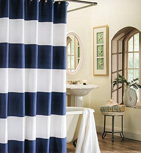 DaringOne Stoff Bad Dusche Vorhang, Schöne Einrichtung Rot Blau und Weiß Vertikale Streifen schimmelt Nicht Badezimmer Decor-Sets mit Haken 66