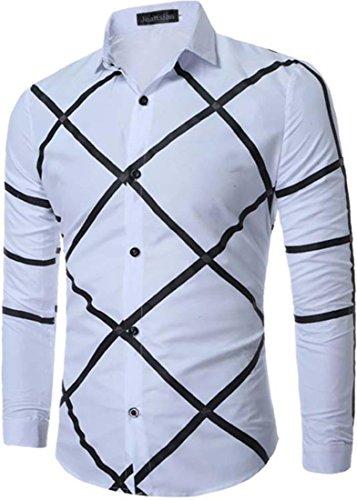 jeansian Herren Freizeit Hemden Shirt Tops Mode Langarmshirts Slim Fit Plaid Dress Shirts 84N7 White