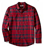 Amazon essentials Herren Regular-Fit Langarm kariertes Flanellhemd, Rot (Red Plaid), Large