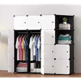 House of Quirk Portable Closet Wardrobe Bedroom Storage Organizer with Doors 14 Cube, 2 Hanger & 2 Open Shelf - (White)