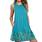 Geili Damen Sommer Ärmellos Minikleid Blumenkleid Casual Loose Große Größen Kurz Kleider Böhmischen Urlaub Strandkleid mit Taschen