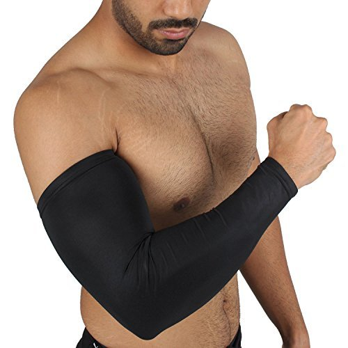 KD Willmax Compression Sleeve Recovery Elbow Sleeve - Elbow Brace / Support. For Workouts, Golfers And Tennis Elbow, Arthritis, Tendonitis, Cricket Infused Fit - Wear (Black)  available at amazon for Rs.249