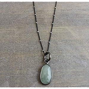 Aquamarin oxidierte Sterling Silber Halskette 45cm (norway)