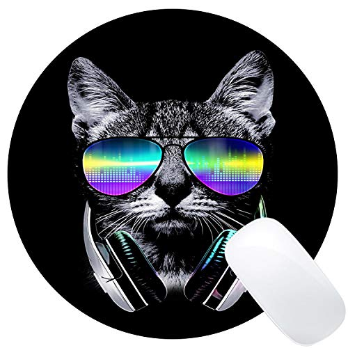 Muccum Mauspad mit lustigem Musik-Katzen-Design, rund, süßes Kätzchen mit Regenbogen-Sonnenbrille, Mauspad
