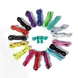 Cordones elásticos de 25 colores, ideal para corredores y zapatillas para correr y caminar, AOTUOTECH, verde fluorescente, Estándar