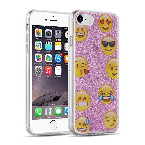 iPhone 8, iPhone 7 Hülle | JAMMYLIZARD Transparente Schutzhülle Sketch Back Cover Case aus Silikon, Mario Brüder EMOJI LILA