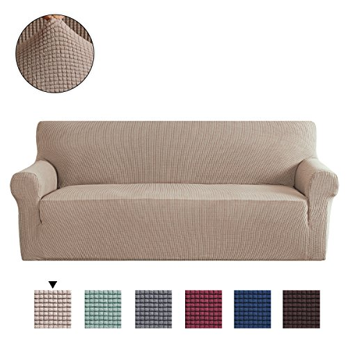 H.Versailtex 1-Piece Couch Covers Easy Stretch Sofa Cover Elastic Full Covered Sofa Slipcovers Furniture Protector (Three Seater, Sand)