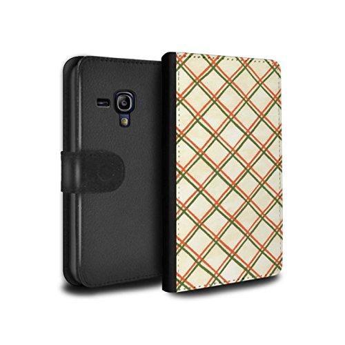 STUFF4 PU Pelle Custodia/Cover/Caso/Portafoglio per Samsung Galaxy S3 Mini / Rosso/verde / Criss cross pattern disegno