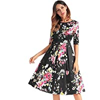 ba77bbbf10 Onfly Women Crew Neck High Waist Floral Dress Sweet Middle Sleeve Zipper  Colormatch A Line Skirts