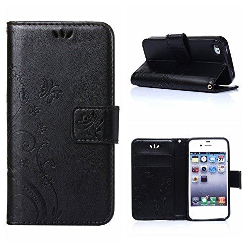 MOONCASE iPhone 6S Plus Custodia in pelle Protettiva Flip Cover per iPhone 6 Plus / 6S Plus 5.5 Fiore Snap-on Magnetico Bookstyle TPU Case Viola chiaro Nero