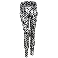Ayliss New Mermaid Fish Scale Printed Leggings Stretch Tight Pants,Silver L