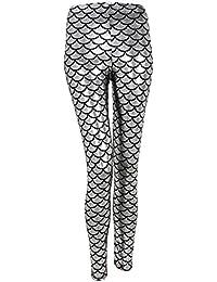 9f694672 Ayliss Mermaid Fish Scale Printed Leggings Stretch Tight Pants