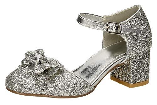 lockabsatz Party Schuhe Mary Jane Strap, Silber - Silver - Bow - Größe: 33 EU ()