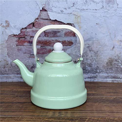 Kettle-HOT Tetera Esmalte hervidor de Agua for Cocina de inducción Estufas de Gas, Antiguo Reloj Pot Cool Mint Verde Puro en Polvo Restaurante Verter el Agua de la Tetera de Estilo Retro