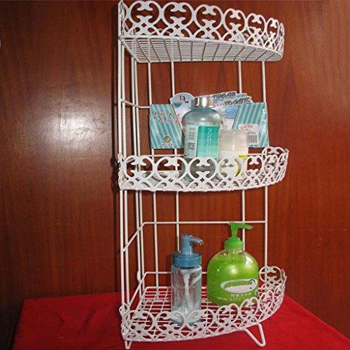 LUYIASI- Rostfreie weiße Metalllagerung Freies Stanzen 3 Tier Wire Regal Regal Küche Badezimmer Toilette Ecke Organizer Bücherregal Indoor Bücherregal Bathroom Racks ( größe : 24.5cm*24.5cm*61cm ) - 3-tier Bathroom Regal