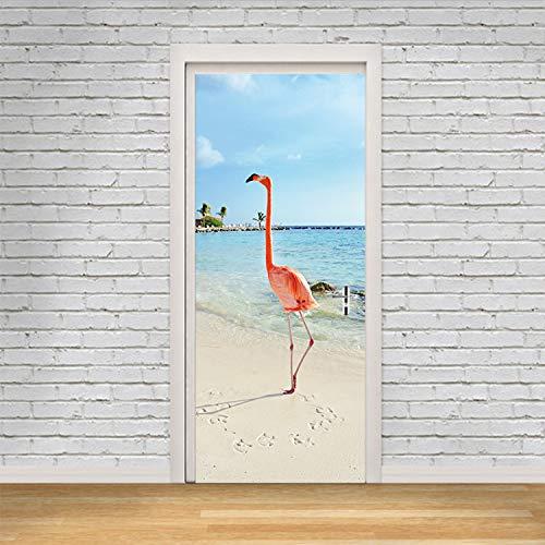 GBICjdojf Kreative Tier Mandschurenkranich Tür Aufkleber Malerei Tapete Poster Wandaufkleber Schlafzimmer Wohnzimmer Dekoration