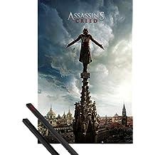 Póster + Soporte: Assassin's Creed Póster (91x61 cm) Spire Teaser Y 1 Lote De 2 Varillas Negras 1art1®