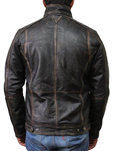 Vintage schwarze Herren Bikerjacke aus Leder (X-Large) - 4