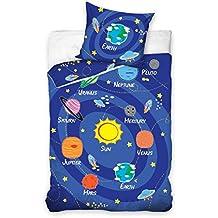 """Maxi & Mini - Set """"Viaggio nel sistema solare"""" con copripiumone da 160 x 200 cm e federa da 70 x 80 cm, 100% cotone"""