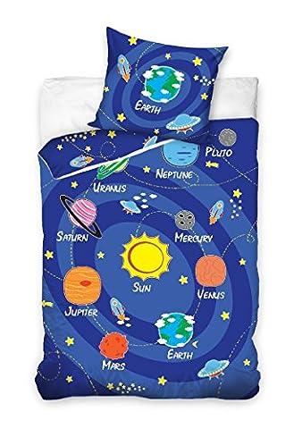 Maxi&Mini - PARURE VOYAGE DANS LE SYSTÈME SOLAIRE LINGE DE LIT HOUSSE DE COUETTE 140x200 + TAIE 70x90 DÉCO ADO UNIVERS COSMOS 100% COTON