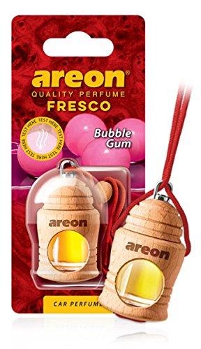 Areon Fresco Ambientador Coche Bubble Gum Chicle Olor Perfume Liquido Botella Mini Original Madera Colgar Colgante Rojo Retrovisor Casa Oficina 3D 4ml ( Pack de 1 )