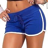 Ai.Moichien Süßigkeit Farben Frauen Sport Kordelzug Shorts Sommer Hosen Fitness Workout Yoga Kurze S-2xl Blau L