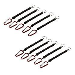 Sharplace 10 Stück Elastisch Angeln Lanyard Spiralkabel Mit Karabinerhaken Und Ring, Schlüsselanhänger, Schlüsselbund