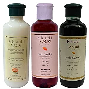 Khadi Mauri Herbal Hair Conditioner - Satreetha Shampoo & Amla Hair Oil Combo Pack of 3 Ayurvedic Natural 210 ml each