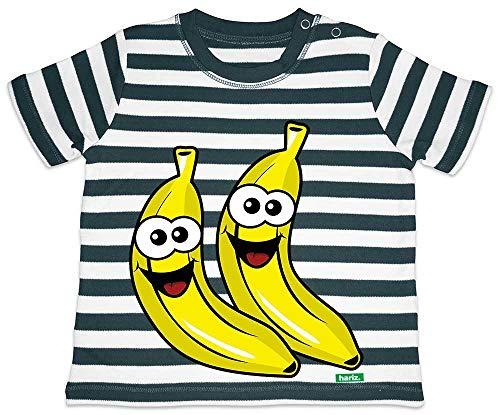 HARIZ Baby T-Shirt Streifen Bananen Lachend Früchte Sommer Plus Geschenkkarte Navy Blau/Washed Weiß 18-24 Monate (Weiß T-shirt Banane)