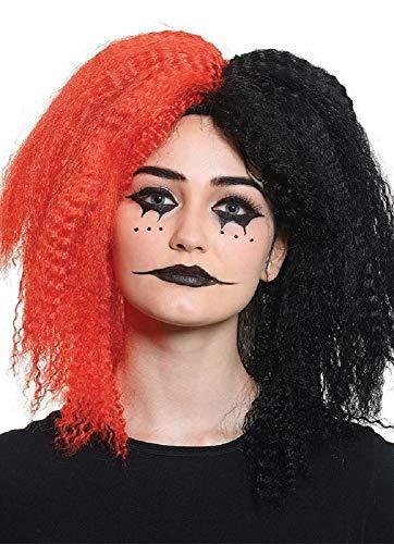 e gekreppte Damen Perücke zweifarbig Rot/Schwarz Harlekin Clown Horror Halloween Crazy Girl Wig ()