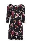 myOwn by Adler Mode Damen Jersey-Kleid in Feinstrickoptik mit floralem Druck Schwarz/Pflaume/Rose/Grün 36