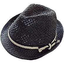 ACVIP Bébé Unisexe Chapeau Fedora Hat en Paille Anti Soleil Voyage ... 5b6a345a29f