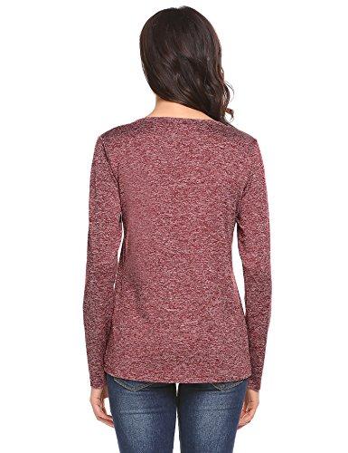 Meaneor Damen Elegant Langarmshirt Casual Bluse Tunika Oberteil Tops Basic T-shirt mit V Ausschnitt Rot