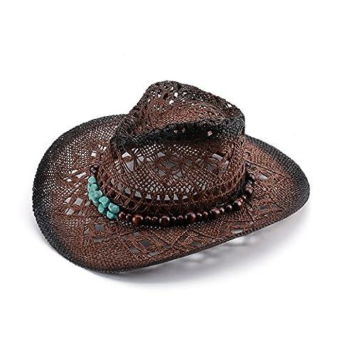 JOOWEN Women's Western Style Hollow Straw Cowboy Cowgirl Hat (Brown)