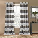DUCKRIVERTEXTILES gestreift Tülle Fenster Vorhang 2Panel Fall Set, grau und Taupe, 96,5x 274,3cm