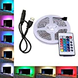 Skitic USB Strisce LED, 5050 SMD USB 5V TV Retroilluminazione LED Barra Luminosa Kit Impermeabili RGB Multi Colore con Telecomando IR per HDTV LCD a Schermo Desktop PC Monitor, 200cm 60 Leds