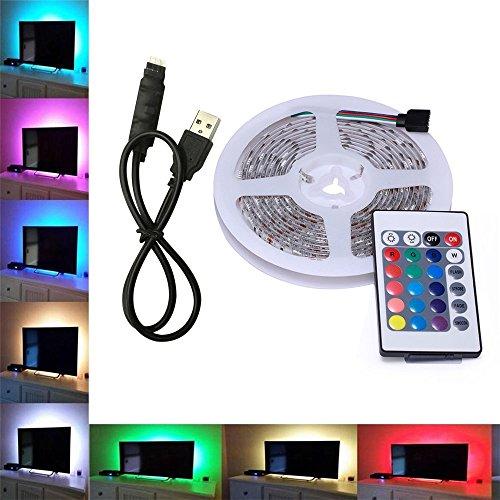 Skitic TV Hintergrundbeleuchtung USB LED Lichtleisten Lichtband mit 24 Tasten IR Fernbedienung - 500CM 5V Multi-Farben 5050 SMD RGB LED Dekor Streifen Fernsehrückseiten Beleuchtung für Flachen Schirm, Wand-Einfassungs Film Theater, HDTV, PC (Kurzen Steuerung Glatte)