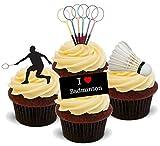 Badminton mischung - 12 essbare Standup Kuchen-Deko, Kuchendekorationen, essbar, Premium, 2 x A5, für 12 Bilder, nicht vorgeschnitten