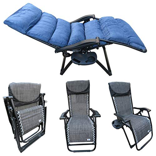 Amaze (with Cushion and Side Tray, Drink Holder) Folding Zero Gravity Recliner Push Back Easy Relax Portable Outdoor Indoor Sea Beach Swimming Pool Garden Farm House Sun Bed Lounger Char-Plain Grey