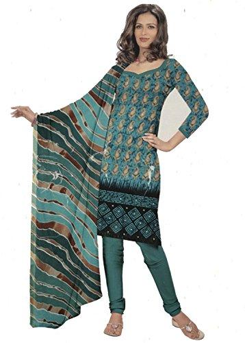 Dimpy Salwar Kameez Dupatta Indian Dress Material in Bench Green & Black...