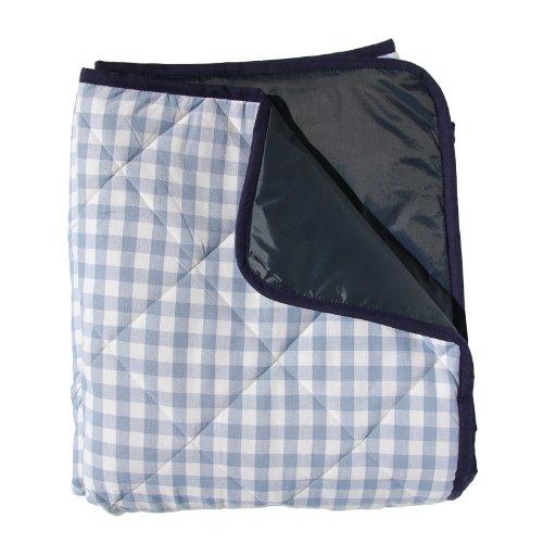 Extra große Picknickdecke Karomuster Blau (gepolstert)