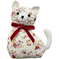 "Riva Paoletti Floral Cat Novelty Doorstop - White Floral Print - Heavyweight Sand and Polyester Filling - 100% Cotton - 18 x 10 x 24cm (7"" x 4"" x 9"" inches) - Designed in the UK"