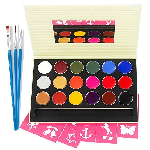 (Kinderschminke Set Face Paint, Kinder Make-up-Set für Parteien & Karneval, 18 Farbe, Schablonen, Glitter, ungiftig)