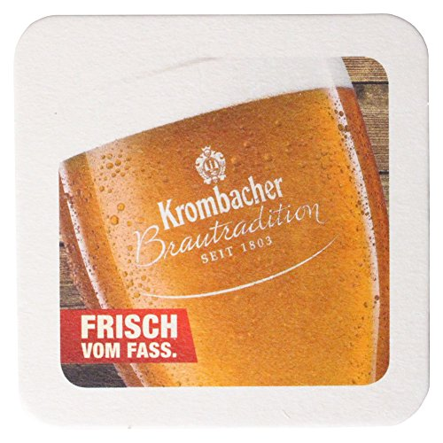 Krombacher Bierdeckel Pils Untersetzer Bier Glas Gläser Bierfilz Pappdeckel Party Bar Theke Tresen Deko Motiv Design (Kellerbier) Pils-bar Set