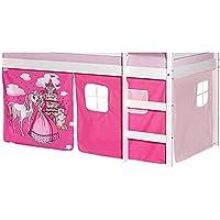 IDIMEX Lot de Rideaux cabane pour lit surélevé superposé mi-Hauteur Mezzanine Tissu Coton Motif Princesse Rose