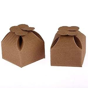10 Scatole con chiusura a fiore in cartoncino ondulato grezzo per bomboniere, confetti, regali, matrimoni