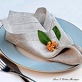 Linen & Cotton 4 x Stoffservietten Herringbone mit Hohlsaum Oxford Natur/Beige - 100% Leinen - 2