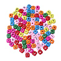 guanjunLI Dice Sets,100pcs Colorful Mixed A-Z Alphabet Letter Cube Wood Beads Jewelry Making 10mm