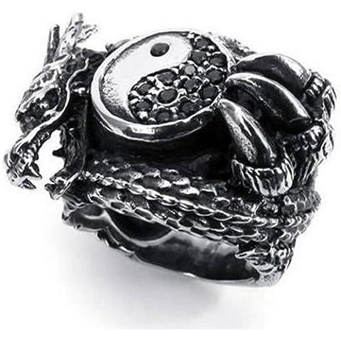 Vintage in acciaio inox gotico drago Biker Mens anello, Yin Yang, Tai Chi JR9988 - Mens Anello Del Drago