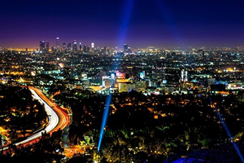 Poster Foundry ProFrames The Blue Hour Hollywood California Skyline 54x36 inches Poster